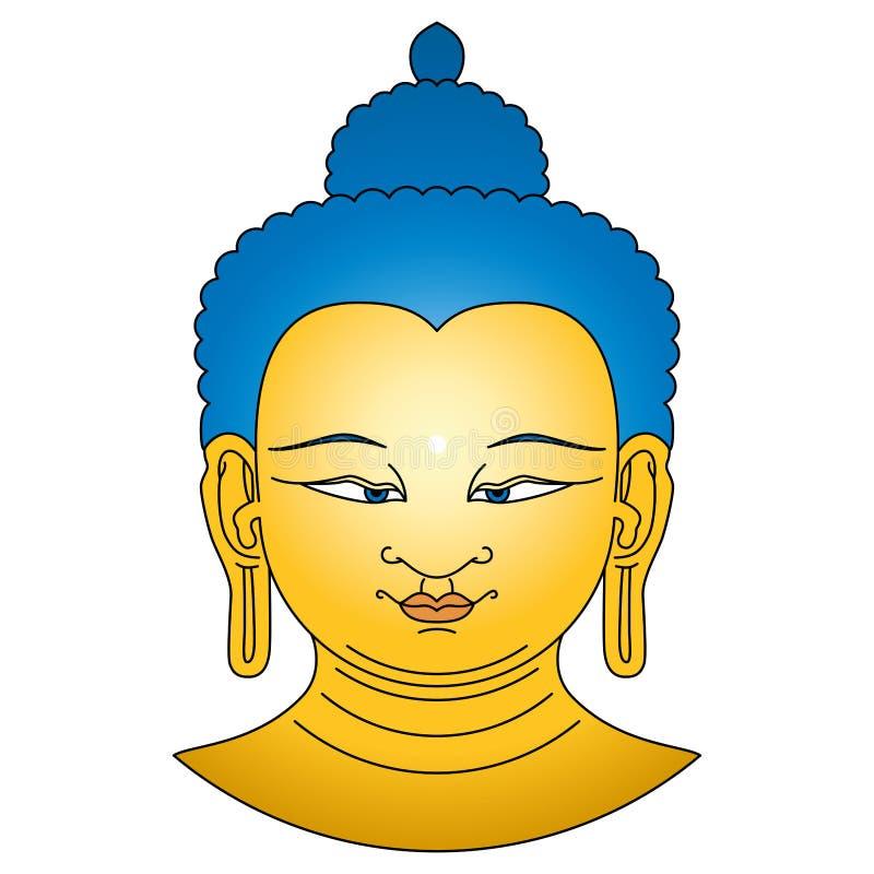 Het goud gekleurde hoofd van Boedha met blauwe haren royalty-vrije illustratie