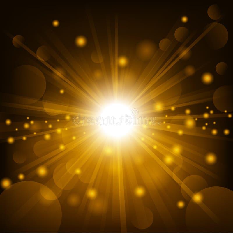 Het goud glanst met de achtergrond van de lensgloed vector illustratie