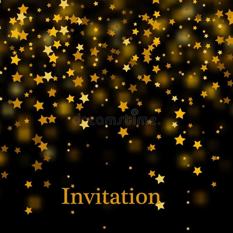 Het goud schittert achtergrond met fonkeling glanst lichte confettien Vector schitterende zwarte achtergrond vector illustratie
