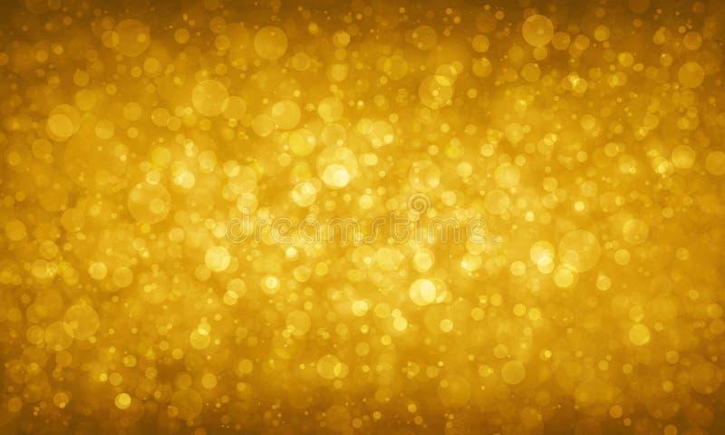 Het goud schittert achtergrond met vage cirkels of bokeh lichtenfonkelingen stock illustratie