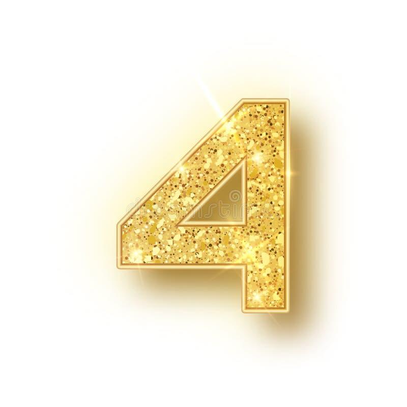 Het goud schittert alfabetnummer 4 met schaduw Vectorrealistick glanzende gouden doopvont nummer vier van fonkelingen op wit royalty-vrije illustratie