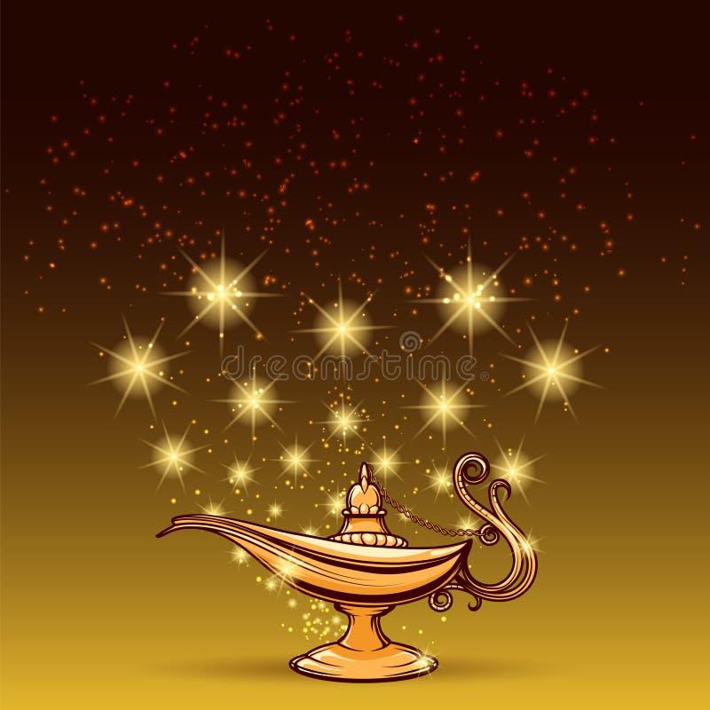 Het goud schittert en aladdin lamp stock illustratie