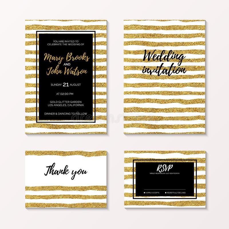 Het goud schittert huwelijksreeks van uitnodiging, rsvp en dankt u kaardt stock illustratie