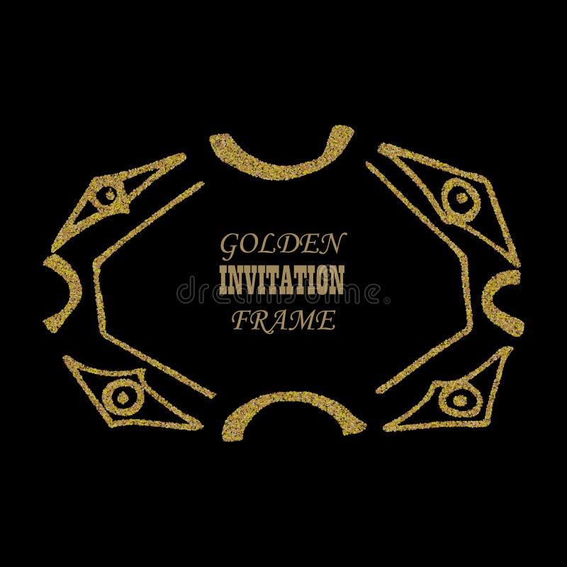 Het goud schittert kader Gouden korrelig kader Gouden confettienachtergrond vector illustratie