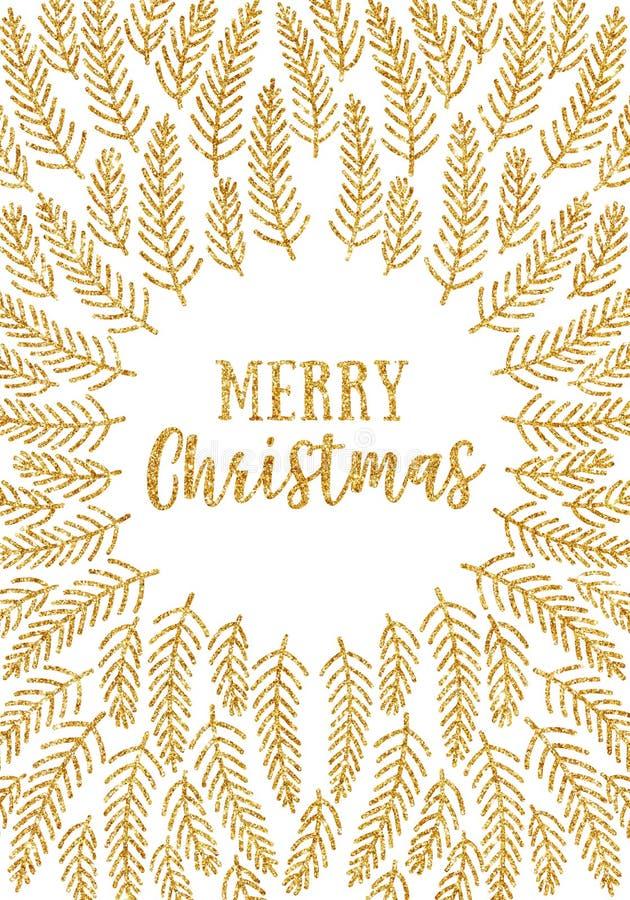 Het goud schittert Kerstkaart vector illustratie