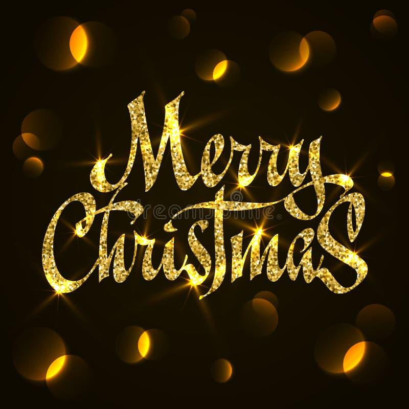 Het goud schittert Kerstmistypografie, handschrift De vrolijke kaart van de Kerstmisgroet met bokeh vector illustratie