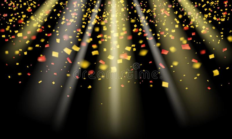 Het goud schittert realistisch confettien en klatergoud die op het zwarte ontwerp van vakantievectorafbeeldingen vliegen Elemente vector illustratie