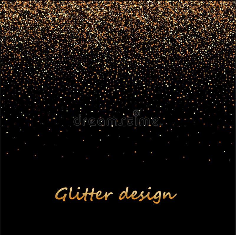 Het goud schittert textuur op een zwarte achtergrond Gouden explosie van confettien Gouden korrelige abstracte textuur op een zwa royalty-vrije illustratie