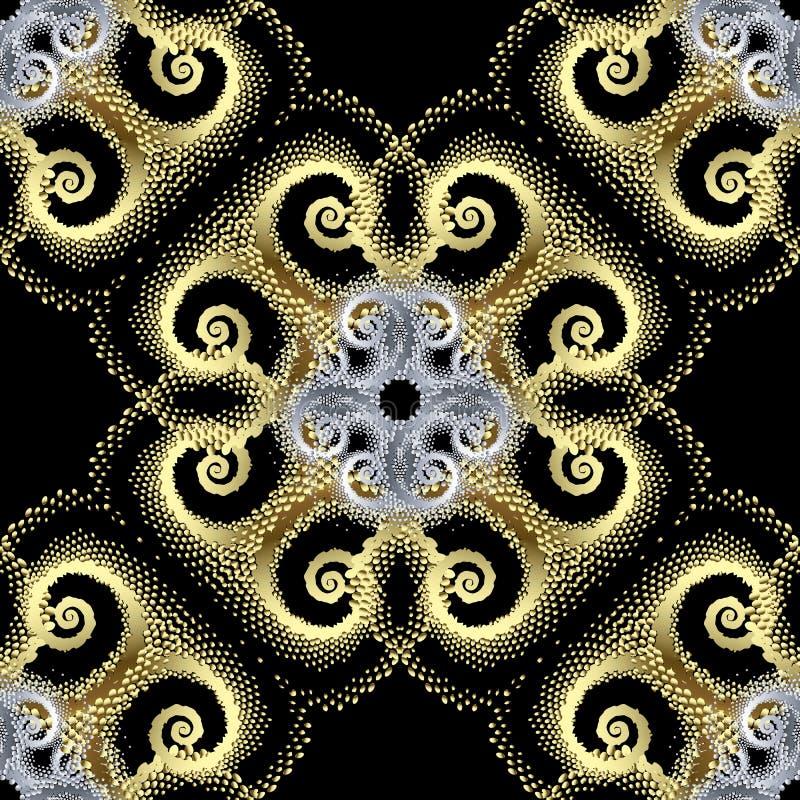 Het goud stippelde 3d vector naadloos patroon Abstracte sier geweven achtergrond Uitstekend stijl modern gouden ornament met stock illustratie