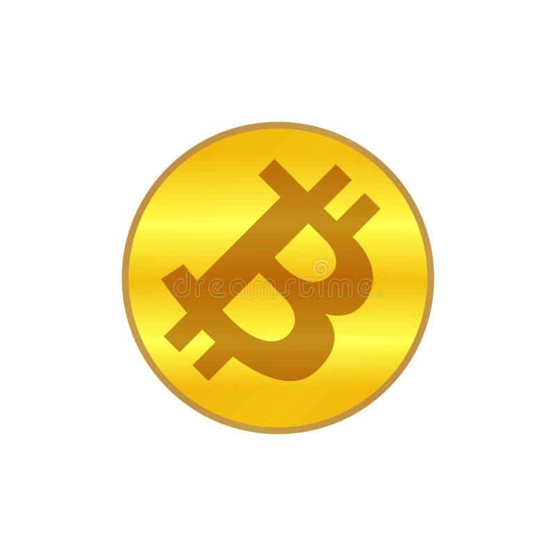 Het goud van het Bitcoinpictogram, het gouden symbool van het cryptocurrency bitcoin muntstuk, embleem bitcoin munt gouden kleur, royalty-vrije illustratie