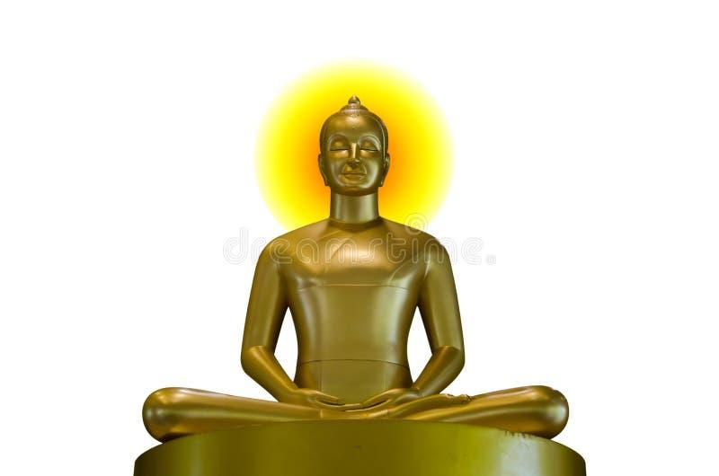 Het goud van Boedha op een witte achtergrond stock afbeeldingen