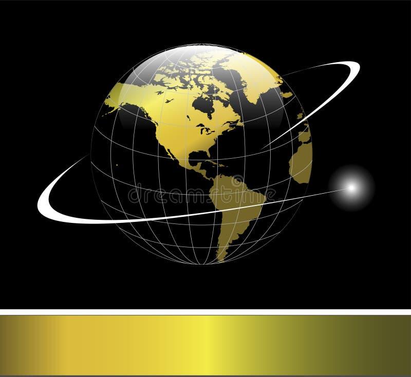 Het goud van de de aardebol van het embleem stock afbeelding