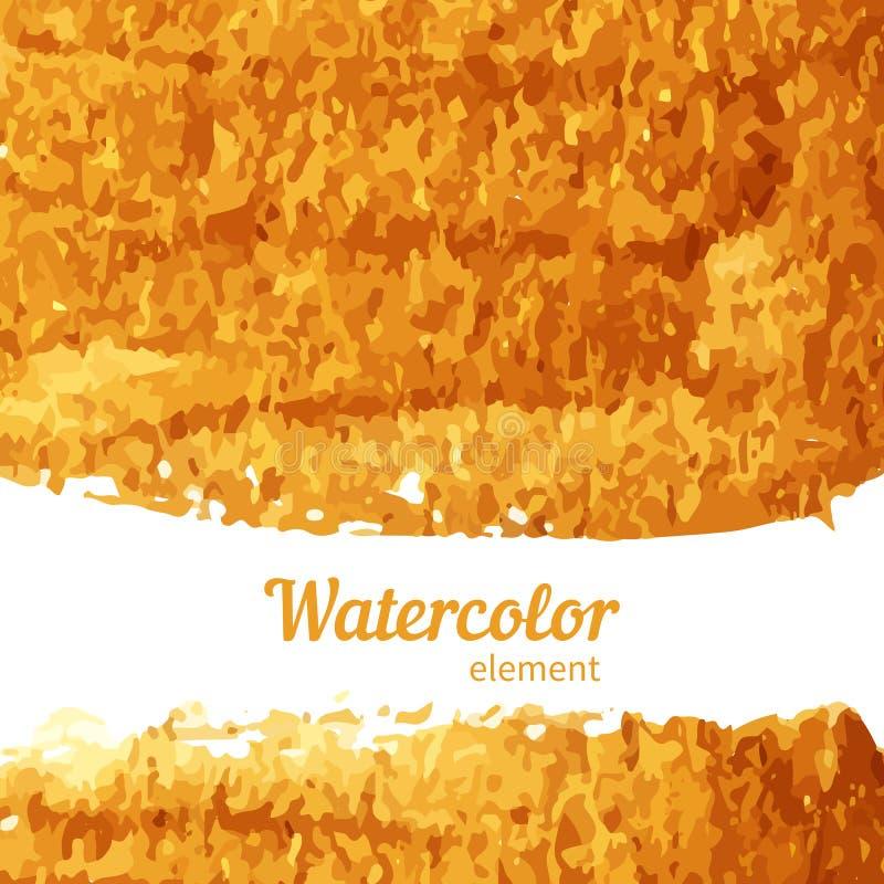Het goud van de waterverftextuur op een witte achtergrond vector illustratie