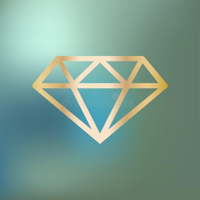 Het goud van het diamantpictogram op een blauwe bokehachtergrond vector illustratie