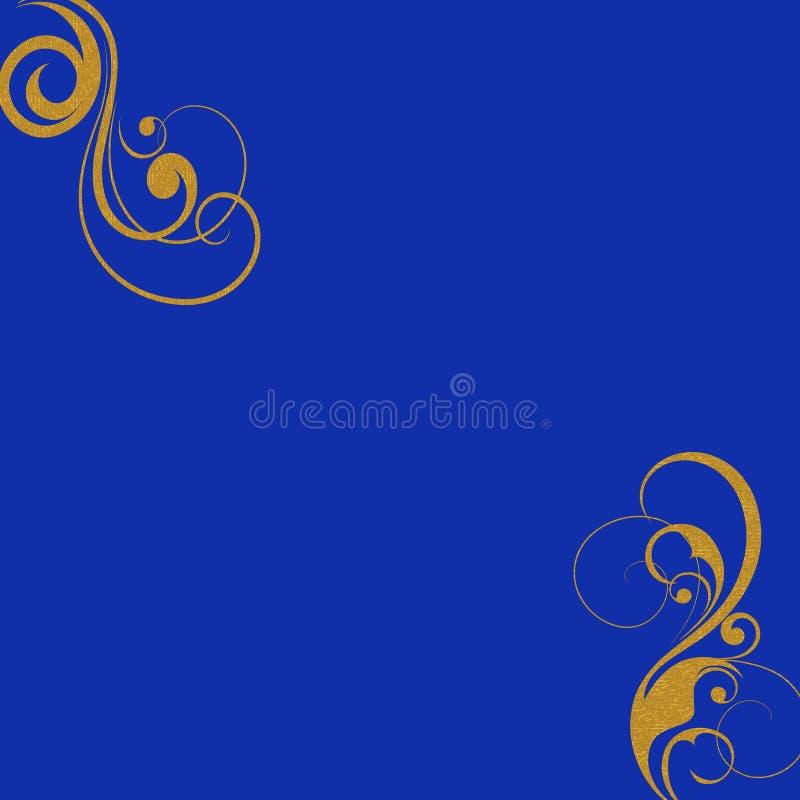 Het goud wervelt blauwe achtergrond royalty-vrije illustratie