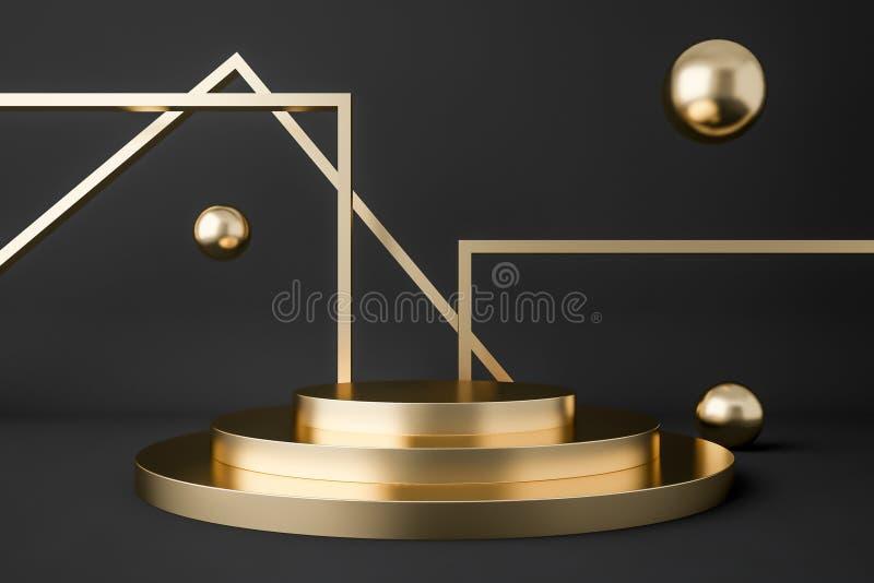 Het gouden abstracte beeld van het showcasepodium vector illustratie