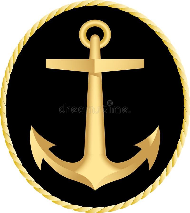 Het gouden anker vector illustratie