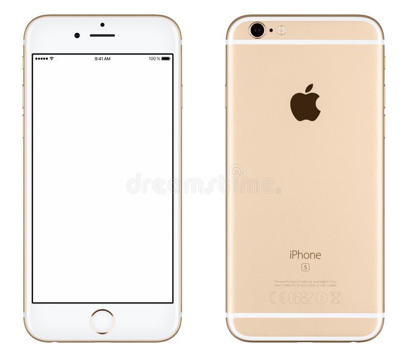 Het gouden Apple-vooraanzicht van het iPhone6s model en achterkant stock fotografie