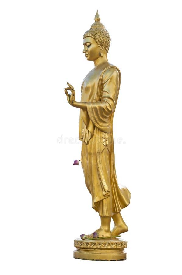 Het gouden beeld van Boedha isoleert op witte achtergrond stock foto