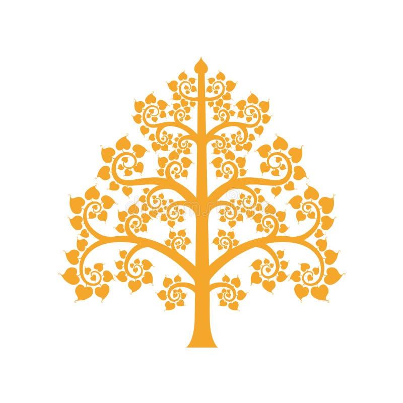 Het gouden Bodhi-boomsymbool met Thaise stijl isoleert op achtergrond royalty-vrije illustratie