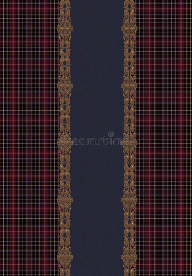 Het gouden borduurwerk van de jeanstextuur stock illustratie