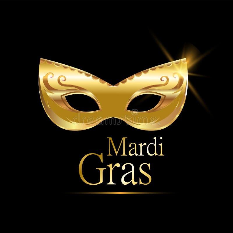 Het gouden Carnaval masker van Mardi Gras met ornamenten voor affiche, groetkaart, partijuitnodiging, banner of vlieger op zwarte vector illustratie
