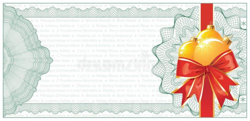 Het gouden Certificaat of de Korting van de Gift van Kerstmis stock illustratie