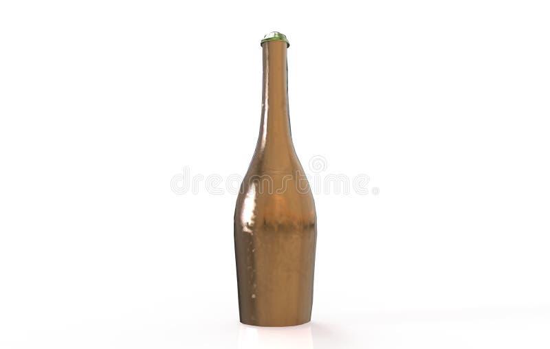 Het gouden Champagne-fles 3D teruggeven vector illustratie