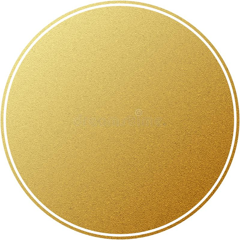 Het gouden die etiket om cirkel met schittert textuur, op wit wordt geïsoleerd Eps 10 royalty-vrije illustratie
