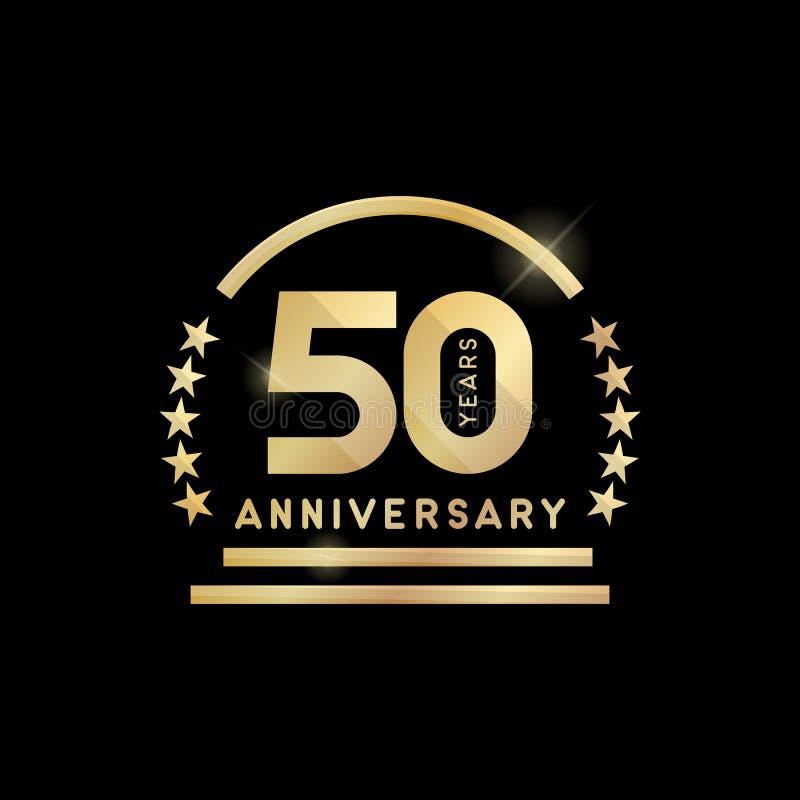 het gouden embleem van de het 50ste jaarverjaardag Het pictogram van toestellen vector illustratie