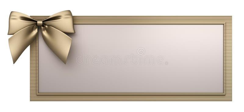 Het gouden frame met 3d boog geeft terug stock illustratie