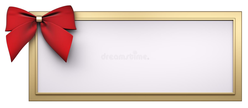 Het gouden frame met rode 3d lintboog geeft terug stock illustratie