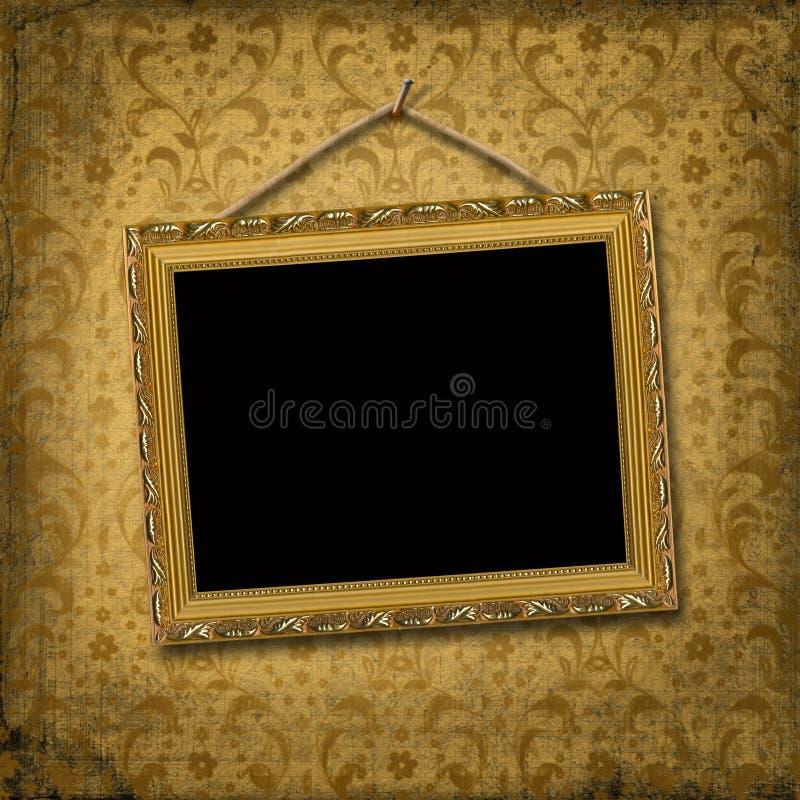 Het gouden frame van het beeld met victorian patroon stock illustratie