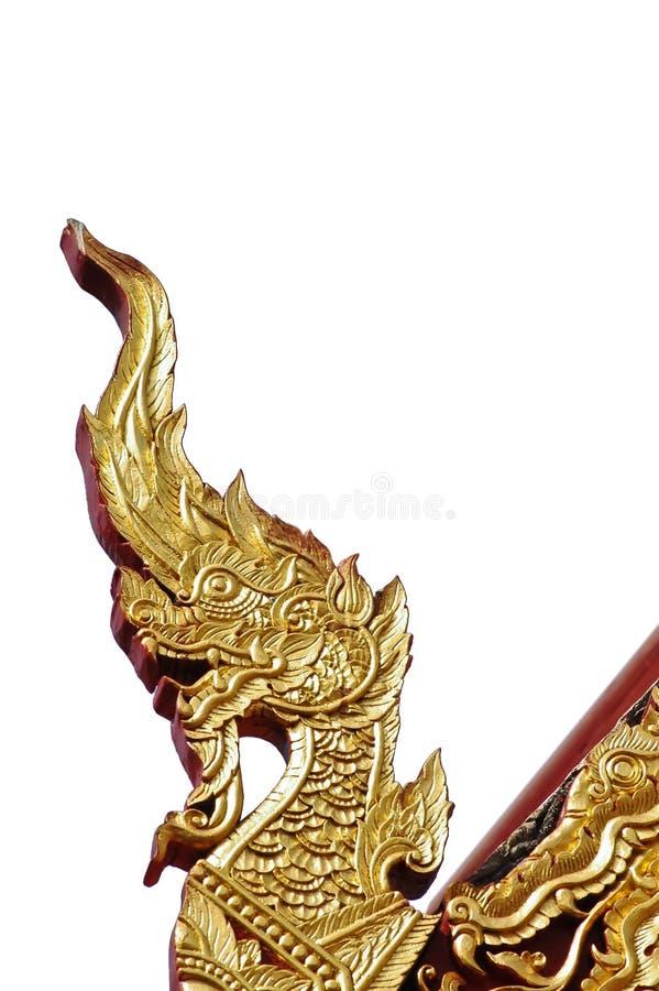 Het gouden geïsoleerde ornament van de naga Thaise draak royalty-vrije stock afbeeldingen