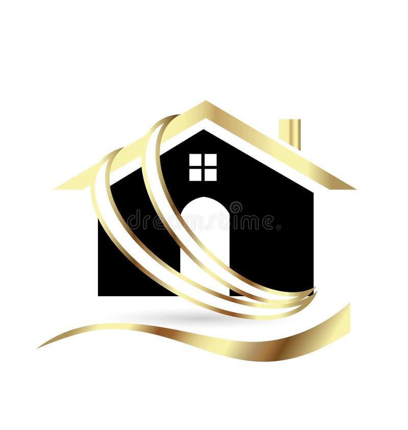Het gouden geïsoleerde symbool van het huispictogram vector illustratie