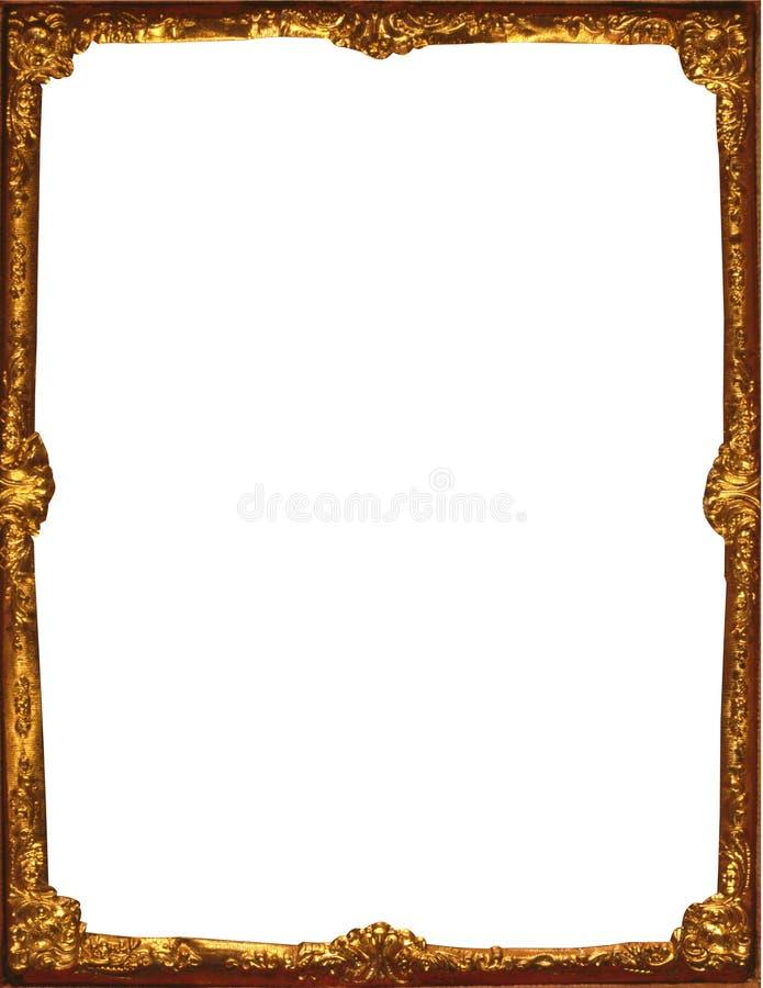 Het gouden gesneden kader met bloeit royalty-vrije stock foto