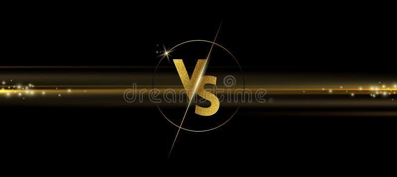 Het gouden glanzen tegenover embleem op zwarte achtergrond VERSUS embleem voor spelen, slag, gelijke, sporten of de strijdconcurr vector illustratie