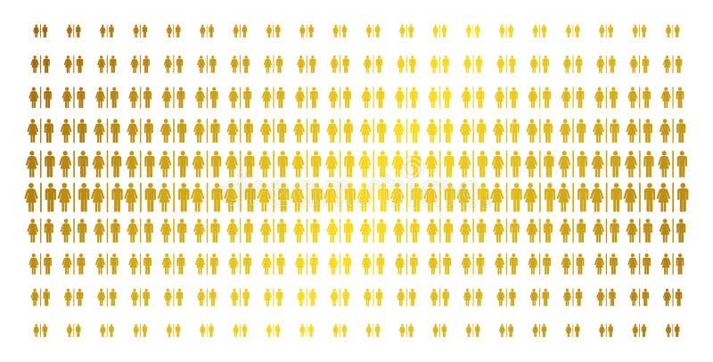 Het Gouden Halftone Net van toiletpersonen vector illustratie