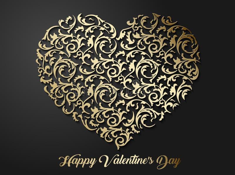 Het gouden hart gaf bloemenpatroon met bladeren gestalte Gevormd 3d liefdesymbool met schaduw op donkere achtergrond royalty-vrije illustratie