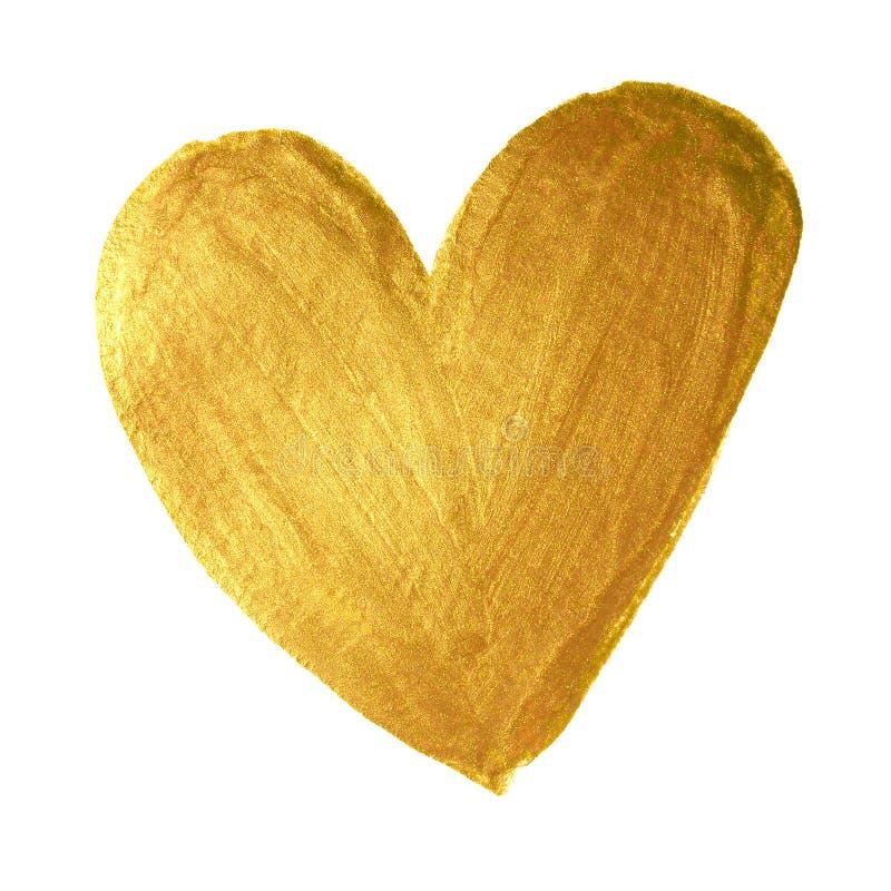 Het gouden hart van Valentine van de verfborstel op witte achtergrond Het gouden waterverf schilderen van hartvorm voor liefdecon stock foto's