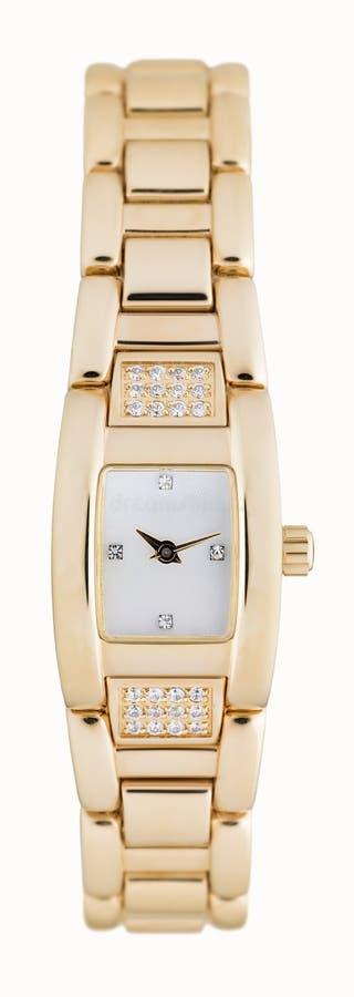 Het gouden horloge van de vrouw royalty-vrije stock afbeelding