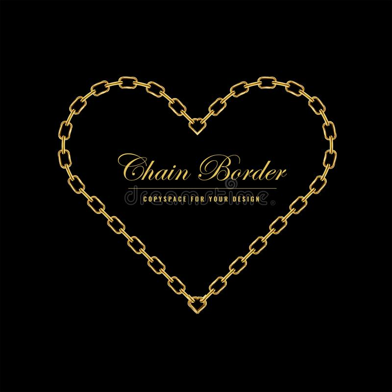Het gouden kader van de kettings vierkante grens De Grens van de hartvorm met gouden kleur Juwelenontwerp Vector illustratie royalty-vrije illustratie