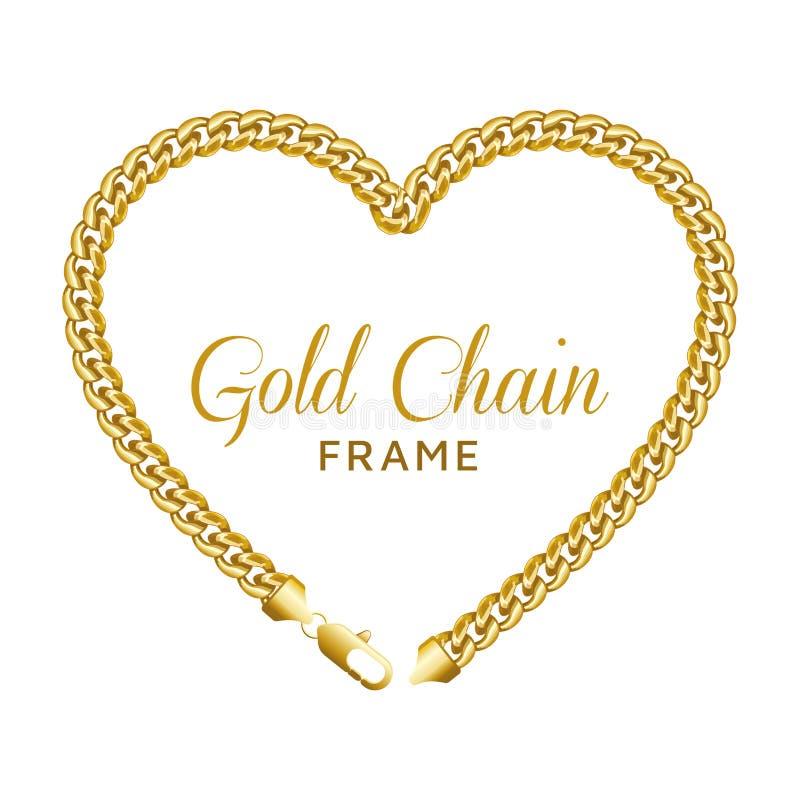 Het gouden kader van de de liefdegrens van het kettingshart Kroonvorm met een zeekreeftslot vector illustratie