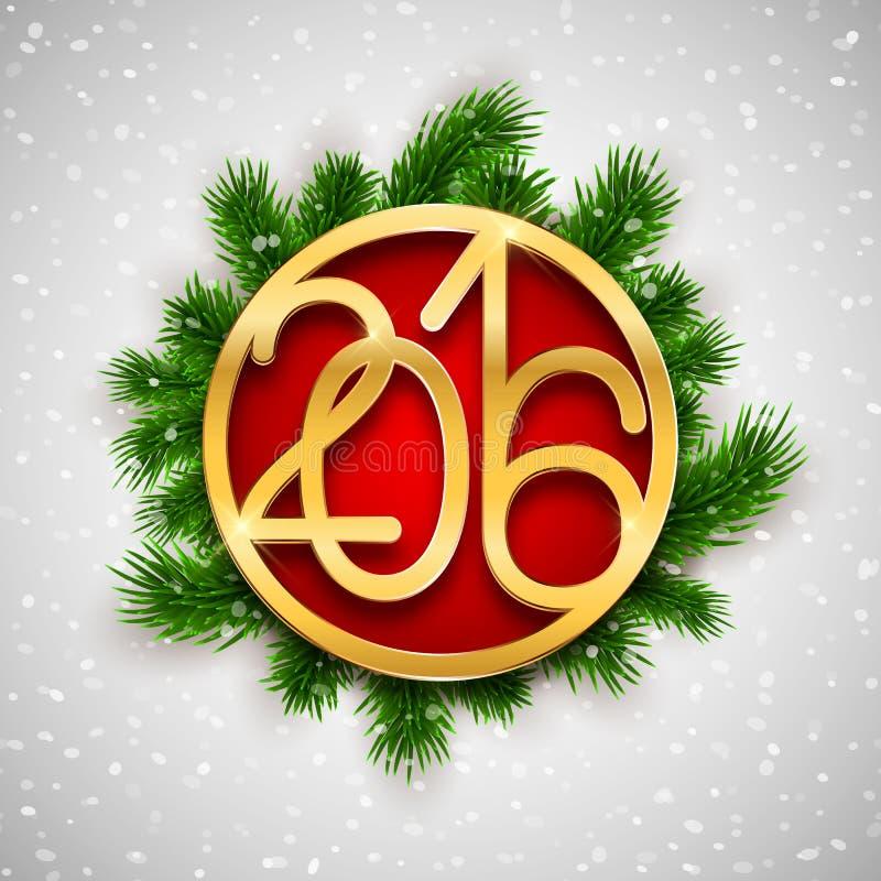 Het gouden Kerstmis 2016 ontwerp, de kaart van de Nieuwjaargroet, vectorillustratie met spar vertakt zich vector illustratie