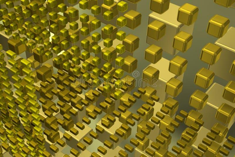 Het gouden kubussen groeien royalty-vrije illustratie