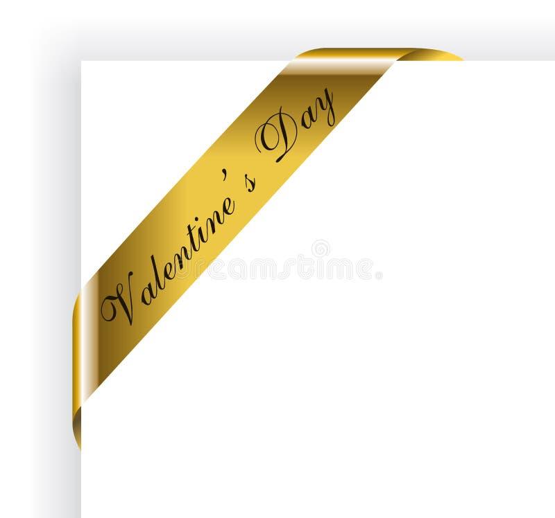 Het Gouden Lint van de Dag van de valentijnskaart voor het Frame van beelden stock illustratie