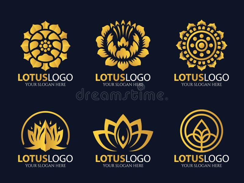 Het gouden Lotus-vastgestelde ontwerp van de embleem vectorkunst vector illustratie