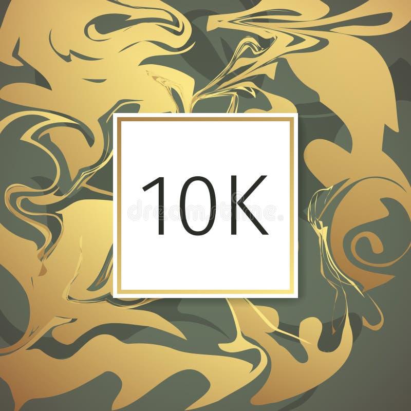 Het gouden Marmeren Vectormalplaatje van het Dankontwerp voor Netwerkvrienden en Aanhangers Dank u 10 k-aanhangerskaart Beeld voo vector illustratie