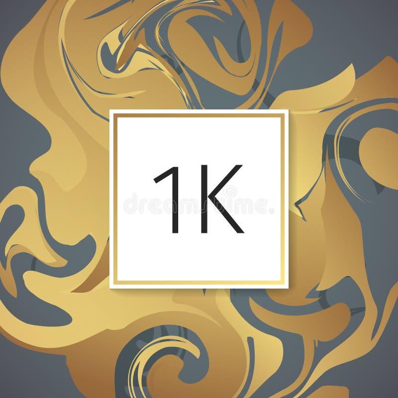 Het gouden Marmeren Vectormalplaatje van het Dankontwerp voor Netwerkvrienden en Aanhangers Dank u 1 k-aanhangerskaart Beeld voor stock illustratie