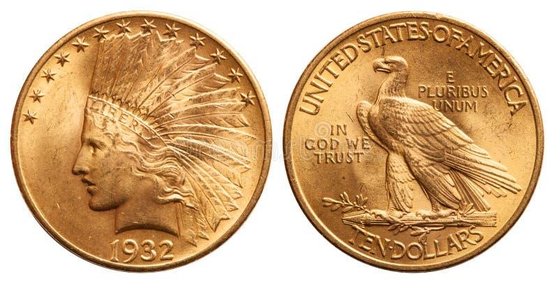 Het gouden muntstuk 10 dollar Indische hoofdwijnoogst 1932 van Verenigde Staten royalty-vrije stock foto's